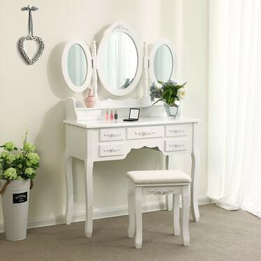 Toaletka Shalow 90 cm z zamykanym owalnym lustrem i taboretem