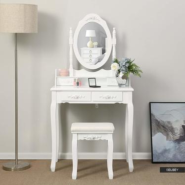 Toaletka Shalow Roses 75 cm z owalnym lustrem i taboretem