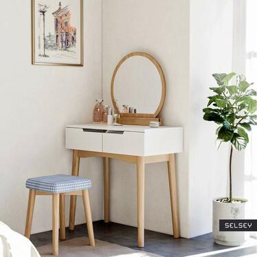 Toaletka Gaga biała - dąb z okragłym lustrem i stołkiem