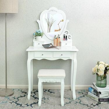Toaletka Shalow 75 cm z lustrem w kształcie serca i taboretem