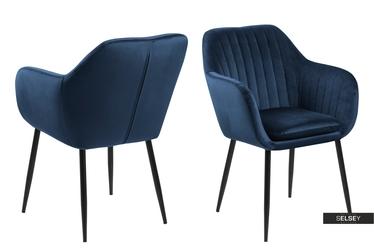 Krzesło Emilia Velvet granatowe na metalowej podstawie