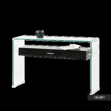 Biurko Opal czarny ze szkła z szufladą