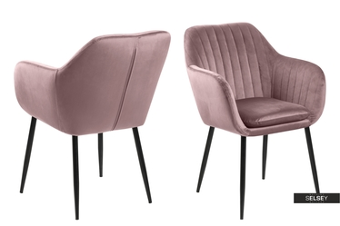 Krzesło Emilia Velvet pastelowy róż na metalowej podstawie