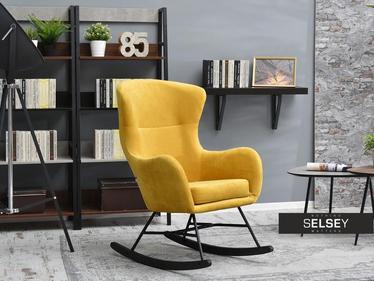 Fotel bujany Nesta żółty na czarnych płozach z wysokim oparciem