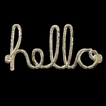 Dekoracja ścienna Hello złota