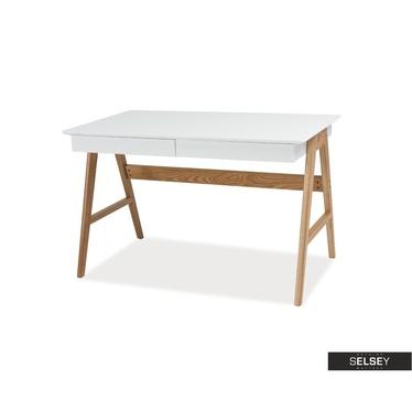 Biurko Henja białe z dębową podstawą