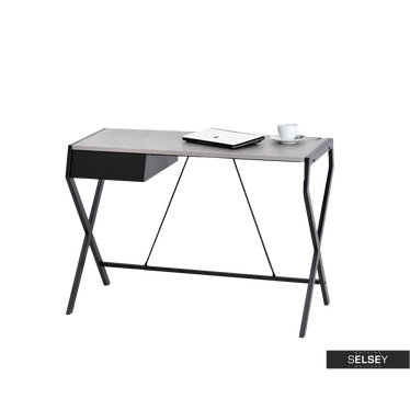 Biurko Designo czarne - beton z szufladą w minimalistycznym stylu