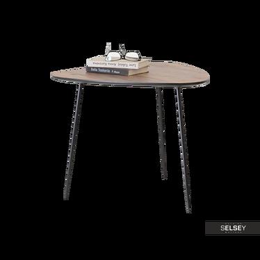 Stolik kawowy Rosin 59x56 cm orzech-czarny do industrialnego salonu