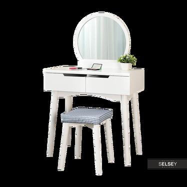 Toaletka Gaga biała z okragłym lustrem i stołkiem