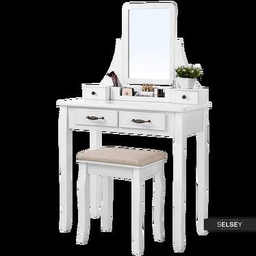 Toaletka Shalow 80 cm z prostokątnym lustrem i taboretem