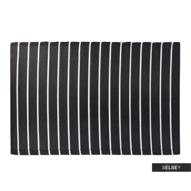 Dywan Outdoor 120x180 cm szerokie czarne pasy na balkon