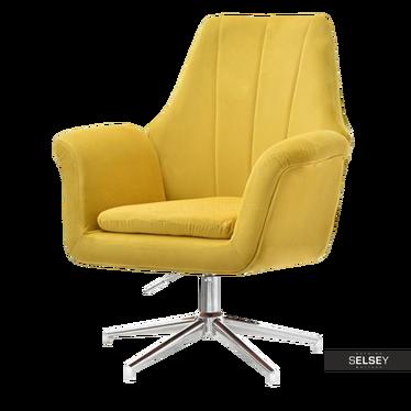 Fotel King żółty na chromowanej podstawie obrotowy