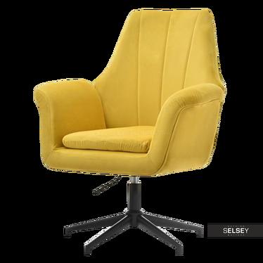 Fotel King żółty na czarnej podstawie obrotowy