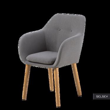 Krzesło tapicerowane Enisa szare na drewnianych nogach