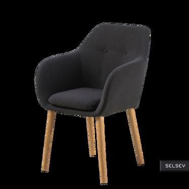 Krzesło Emilia Pins szare ciemne na drewnianych nogach