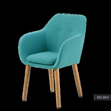 Krzesło Emilia Pins turkusowe na drewnianych nogach