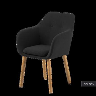 Krzesło Emilia Pins czarne na drewnianej podstawie