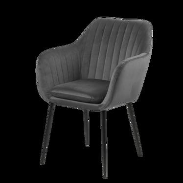 Krzesło Emilia Velvet szare ciemne na metalowych nogach