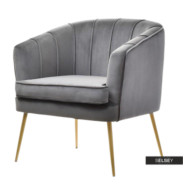Fotel Estel szary na złotych nogach kubełkowy z przeszyciami