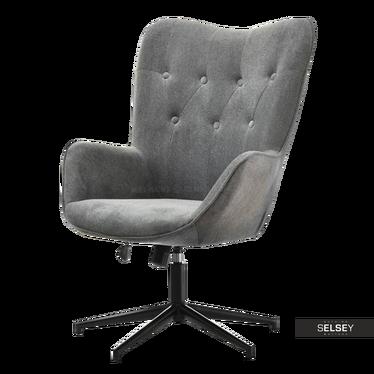 Fotel obrotowy Trini szary - czarny mat pikowany