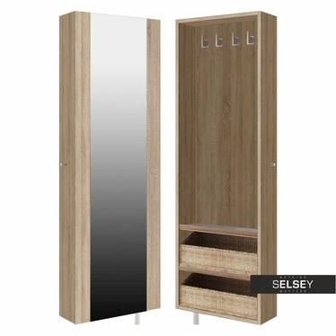 Szafa obrotowa wąska z lustrem - garderoba z półkami STRIP