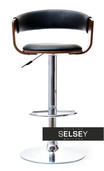 Hoker 35 orzech-czarny drewniane krzesło barowe z tapicerowanym oparciem