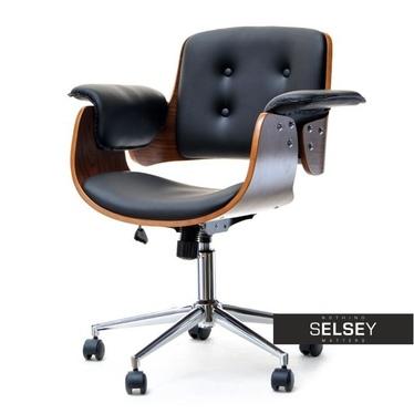 Fotel biurowy Duck orzechowo-czarny obrotowy z drewna