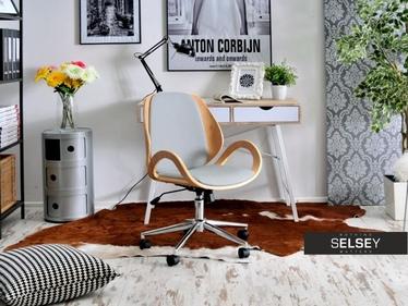 Fotel biurowy Gina bukowo-szary z drewna dla prezesa