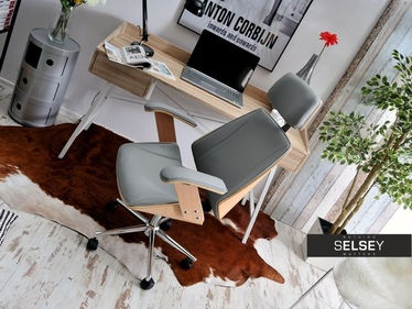 Fotel biurowy Frank bukowo-szary z drewna dla prezesa