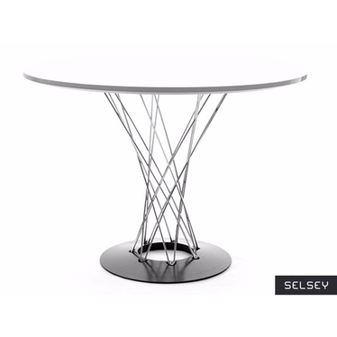 Stół Tornado biały - chrom okrągły