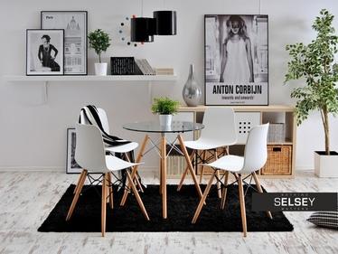 Krzesło Caro białe z tworzywa i drewna