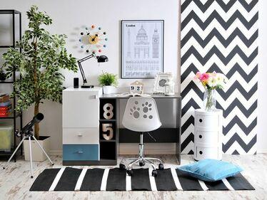 Fotel biurowy Foot biało - czarny designerski dla dzieci