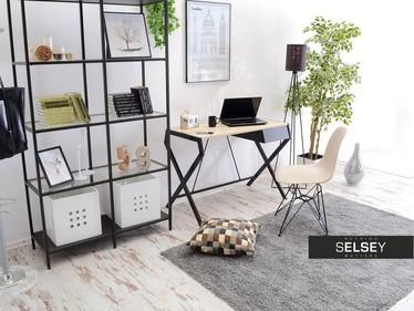 Biurko Naytha czarne - dąb sonoma z szufladą w minimalistycznym stylu