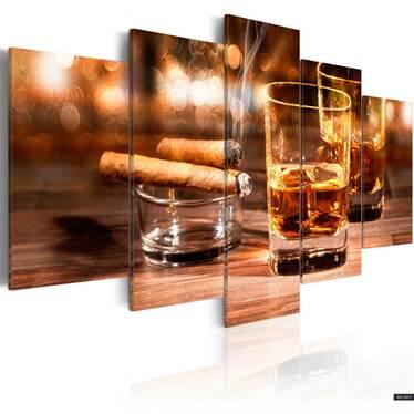 Obraz - Whisky i cygaro 100x50 cm