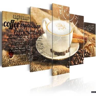 Obraz - Coffe, Espresso, Cappuccino, Latte machiato ... 200x100 cm
