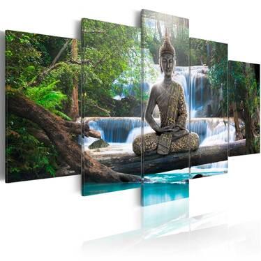 Obraz - Budda i wodospad 200x100 cm