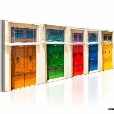 Obraz - Kolorowe drzwi 135x45 cm