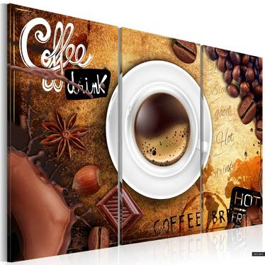 Cup Of Coffee 3 Piece Canvas Print 120x80 cm