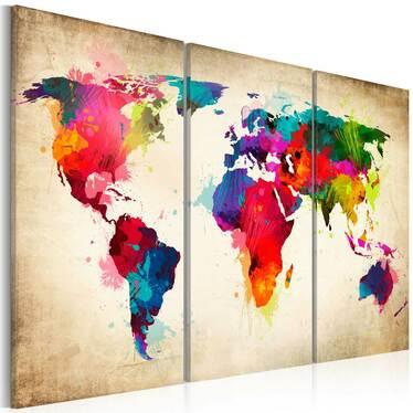 Obraz - Tęczowe kontynenty 120x80 cm