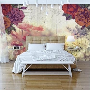 Fototapeta - Kwiaty vintage 300x210 cm