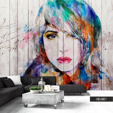 Fototapeta - Portret na drewnie 350x245 cm