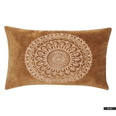 Poduszka z poszewką Preston Velvet karmelowa 30x50 cm