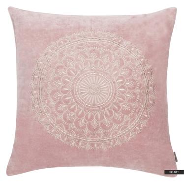 Poduszka z poszewką Preston Velvet jasno różowa 45x45 cm