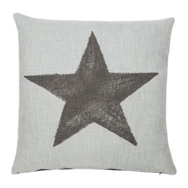 Poduszka z poszewką Star szara lniana 45x45 cm