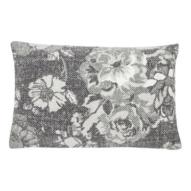Poduszka z poszewką Vintage Flower szara 35x50 cm