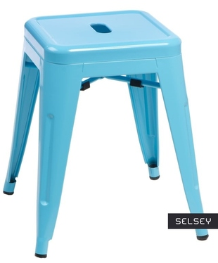 Taboret Paris niebieski inspirowany Tolix