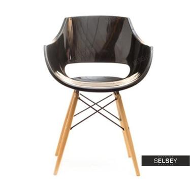 Krzesło Grund z tworzywa na drewnianych nogach z cięgnami