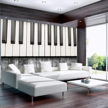 Fototapeta - Zainspirowane Chopinem - szare drewno 300x210 cm