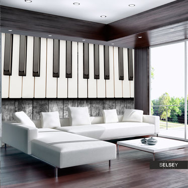 Fototapeta - Zainspirowane Chopinem - szare drewno 350x245 cm