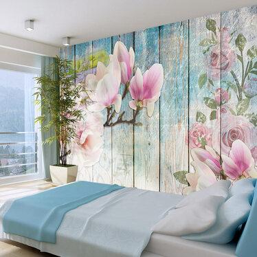 Fototapeta - Różowe kwiaty na drewnie 300x210 cm